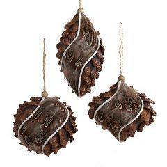 Kurt Adler 3-piece Pinecone Christmas Ornament Set