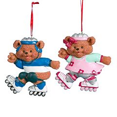Kurt Adler 2-piece Roller Skating Bear Christmas Ornament Set