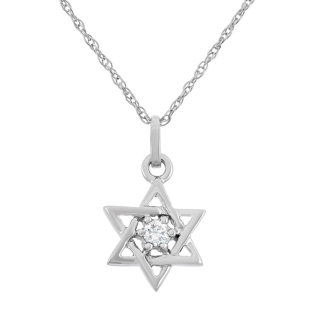 Diamond accent 10k white gold star of david pendant necklace aloadofball Choice Image