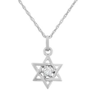 Diamond Accent 10k White Gold Star of David Pendant Necklace