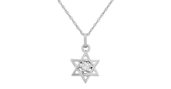 Diamond Accent 10k White Gold Star Of David Pendant Necklace