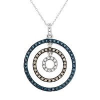 3/8 Carat T.W. Blue, Brown & White Diamond 10k White Gold Concentric Circle Pendant Necklace