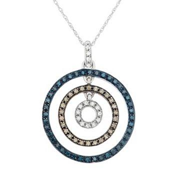 3/8 Carat T.W. Blue, Brown & White Diamond 10k White Gold Concentric Circle Pendant Necklace