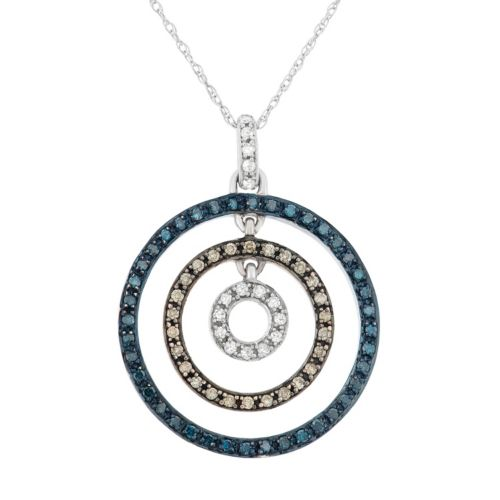 3/8 Carat T.W. Blue, Brown and White Diamond 10k White Gold Concentric Circle Pendant Necklace