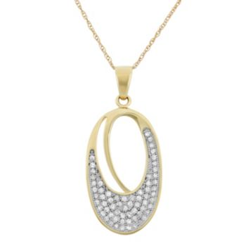 1/3 Carat T.W. Diamond 10k Gold Oval Pendant Necklace