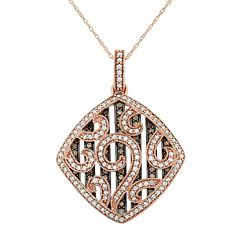 1 1/5 Carat T.W. Brown & White Diamond 10k Rose Gold Scrollwork Pendant Necklace