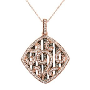 1 1/5 Carat T.W. Brown and White Diamond 10k Rose Gold Scrollwork Pendant Necklace