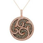 1 1/2 Carat T.W. Brown & White Diamond 10k Rose Gold Scrollwork Pendant Necklace