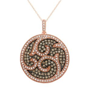 1 1/2 Carat T.W. Brown and White Diamond 10k Rose Gold Scrollwork Pendant Necklace
