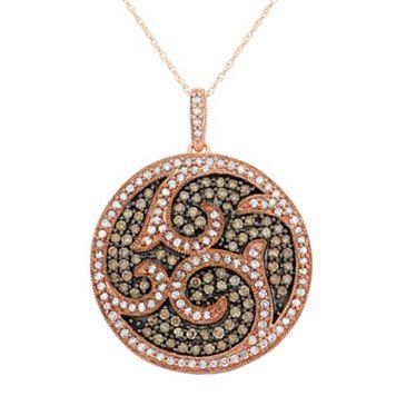 1 1/2 Carat T.W. Brown & White Diamond 10k Rose Gold Scrollwork Pendant Necklace