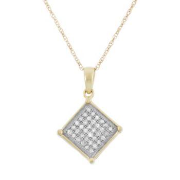 1/8 Carat T.W. Diamond 10k Gold Square Pendant Necklace