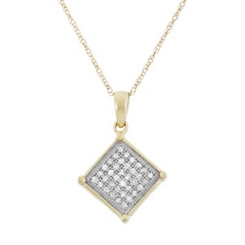 1/8 Carat T.W. Diamond 10k Gold Square Pendant Necklace