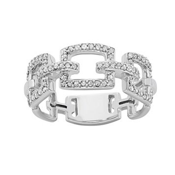 1/3 Carat T.W. Diamond 10k White Gold Chain-Link Ring