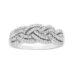1/2 Carat T.W. Diamond 10k White Gold Braided Ring