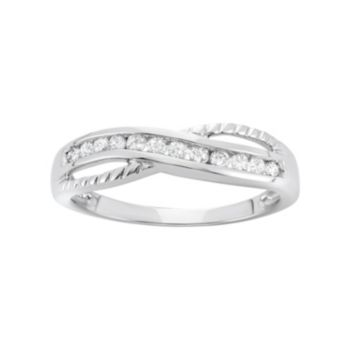 1/4 Carat T.W. Diamond 10k White Gold Crisscross Ring