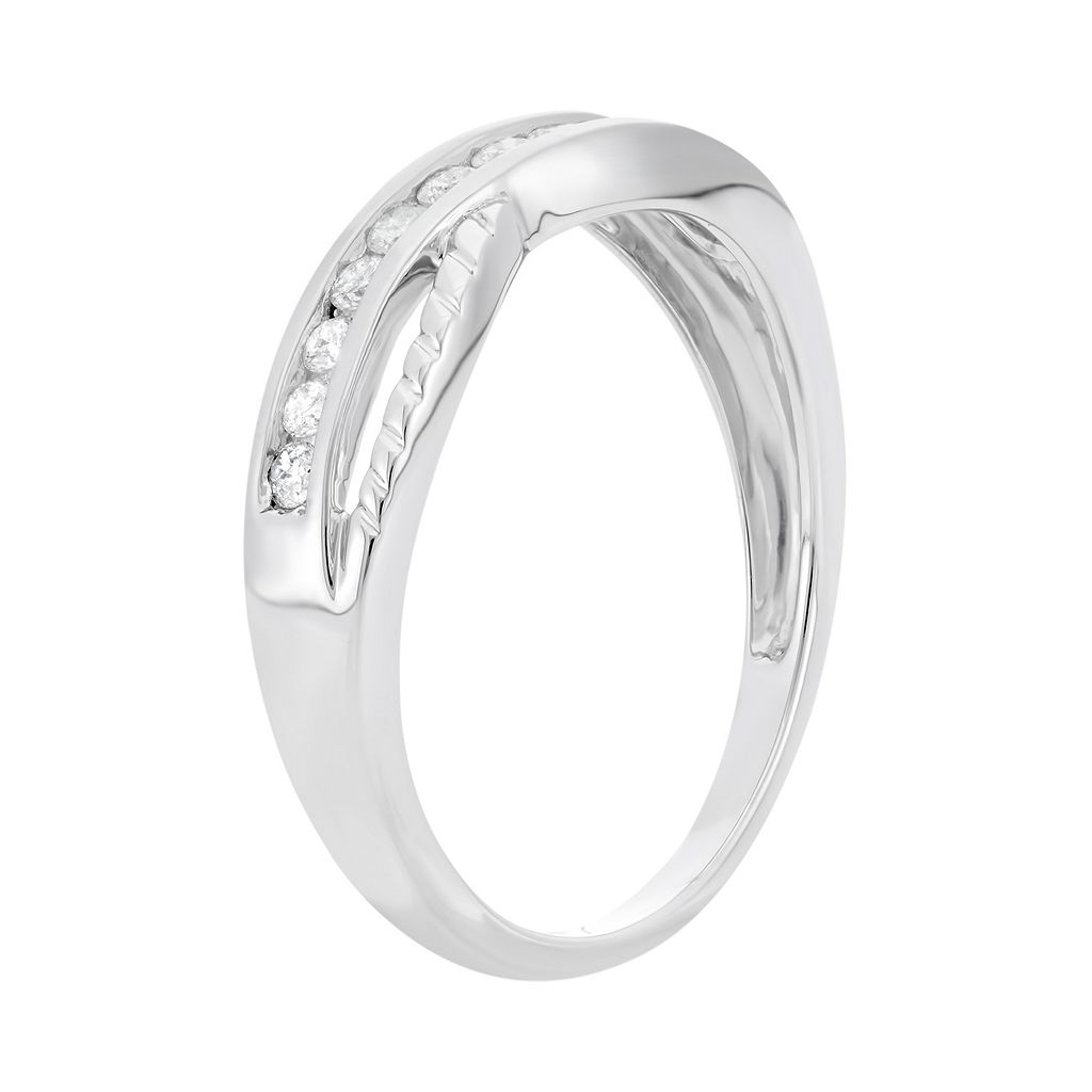 1/4 Carat T.W. Diamond 10k White Gold Crisscross Ring