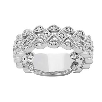 1/5 Carat T.W. Diamond 10k White Gold Openwork Ring
