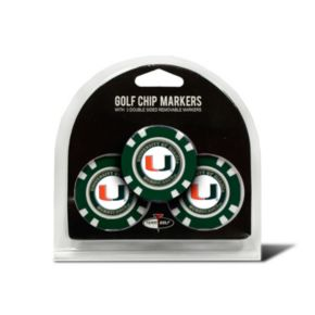 Team Golf Miami Hurricanes 3-pack Poker Chip Ball Markers