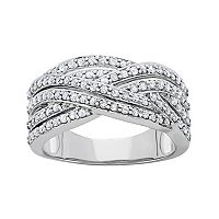 3/4 Carat T.W. Diamond 10k White Gold Crisscross Ring