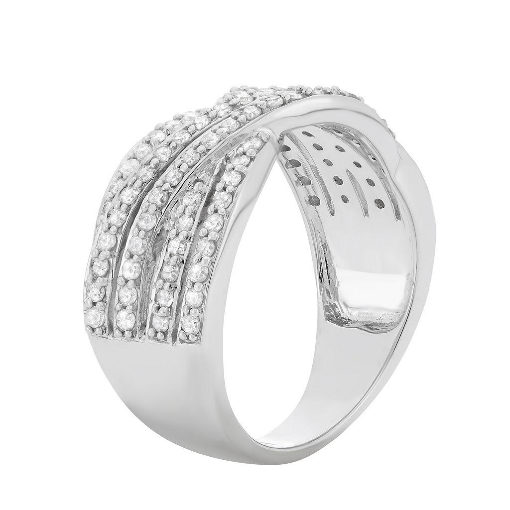 3/4 Carat T.W. Diamond 10k White Gold Crisscross Ring