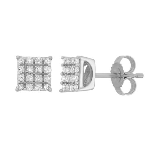 1/5 Carat T.W. Diamond 10k White Gold Square Stud Earrings