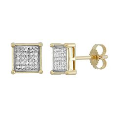 1/6 Carat T.W. Diamond 10k Gold Square Stud Earrings