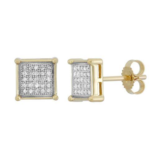 1/6 Carat T.W. Diamond 10k Gold Square Stud Earrings