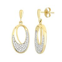 3/8 Carat T.W. Diamond 10k Gold Oval Drop Earrings