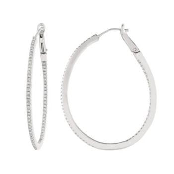 1/2 Carat T.W. Diamond Sterling Silver Inside-Out Oval Hoop Earrings