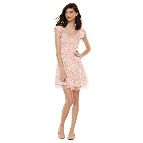 2828c1519 Disney Juniors' Cinderella Floral Ruffle Lace Dress