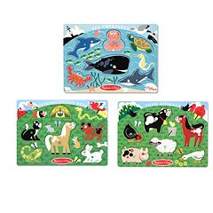 Melissa & Doug Farm Animals, Pet &amp Sea Creature Peg Puzzle Set