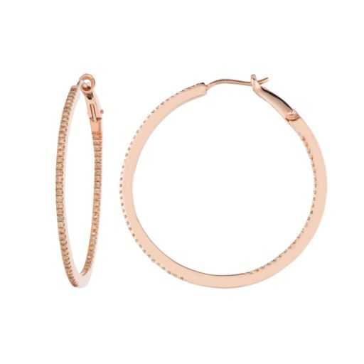 5/8 Carat T.W. Brown Diamond Pink Ion-Plated Sterling Silver Inside-Out Hoop Earrings