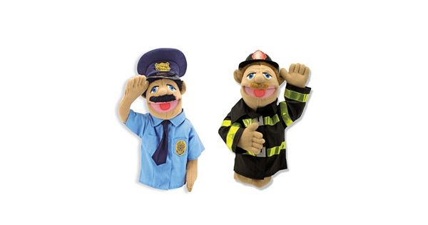 Melissa And Doug Police Officer And Firefighter Puppet Set