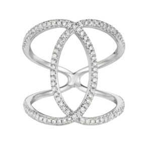 3/8 Carat T.W. Diamond Sterling Silver Double C Ring
