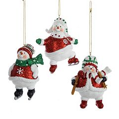 Resin Snowman 3-Piece Christmas Ornament Set