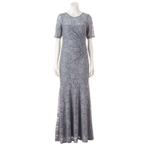 Women's 1 by 8 Glitter Illusion Lace Evening gown