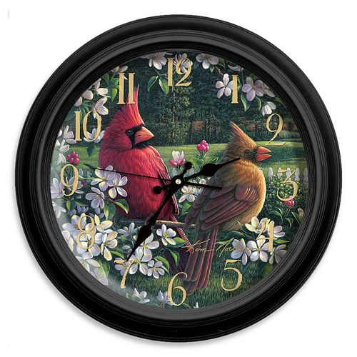 Reflective Art Country Music Cardinal Wall Clock