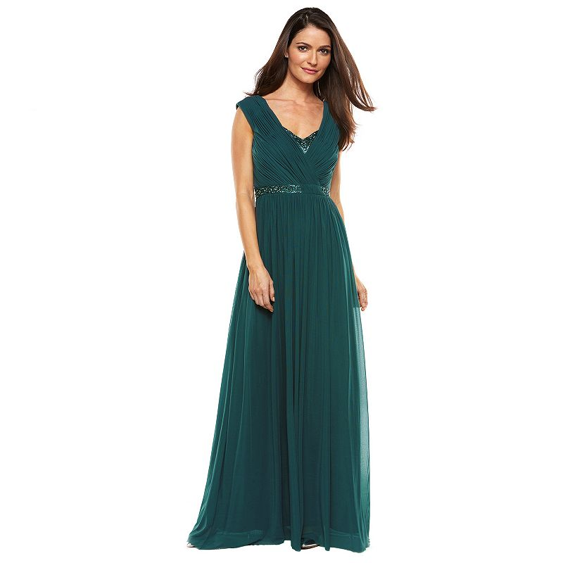 Women's 1 by 8 Mesh Embellished Evening Gown