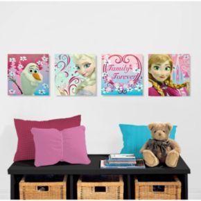 """Disney's Frozen 4-pk. Anna, Elsa & Olaf """"Family Forever"""" Wall Art"""