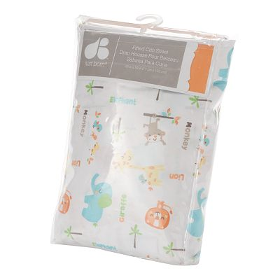 Just Born Animals Fitted Crib Sheet