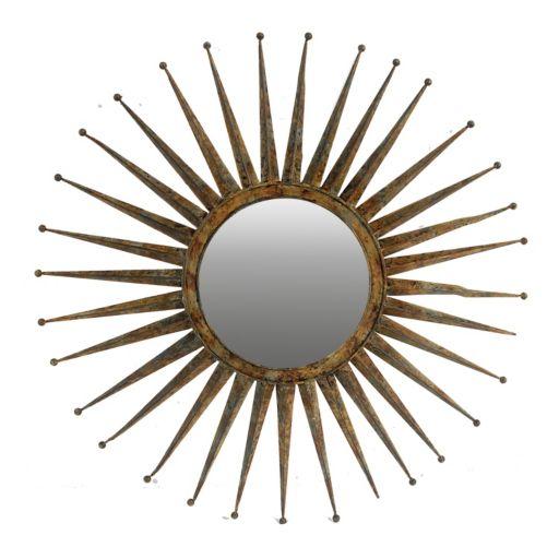 Wood Starburst Wall Mirror