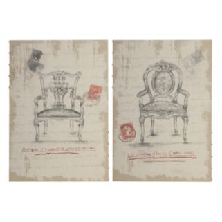 2-piece Vintage Chair Wood Wall Decor Set