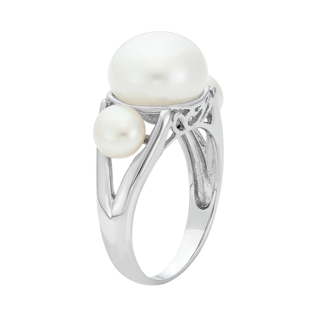 Freshwater Cultured Pearl Sterling Silver 3-Stone Ring
