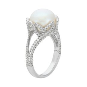 Freshwater Cultured Pearl and Cubic Zirconia Sterling Silver Flower Ring
