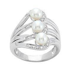 Freshwater Cultured Pearl & 1/10 Carat T.W. Diamond Sterling Silver Openwork Ring