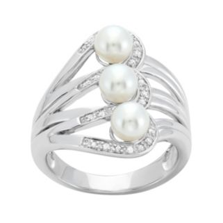Freshwater Cultured Pearl and 1/10 Carat T.W. Diamond Sterling Silver Openwork Ring