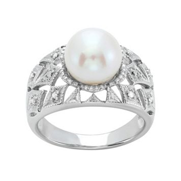 Freshwater Cultured Pearl & Diamond Accent Sterling Silver Openwork Ring