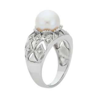 Freshwater Cultured Pearl and Diamond Accent Sterling Silver Openwork Ring