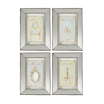 4 piece vintage mirrored frame wall art set - Mirrored Frame