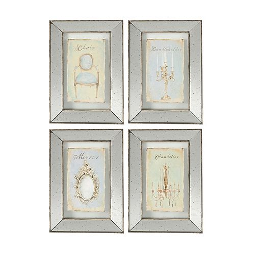 4 piece vintage mirrored frame wall art set
